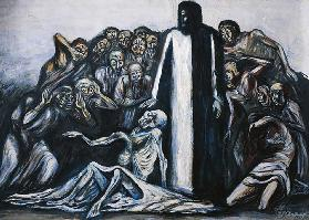 The Raising of Lazarus, 1943, by Jose Clemente Orozco (1883-1949), mixed media on canvas. Mexico, 20