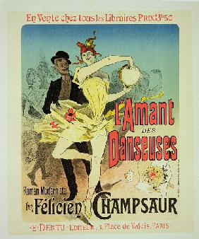 Reproduction of a poster advertising 'The Lover of Dancers', a modernist novel by Felicien Champsaur