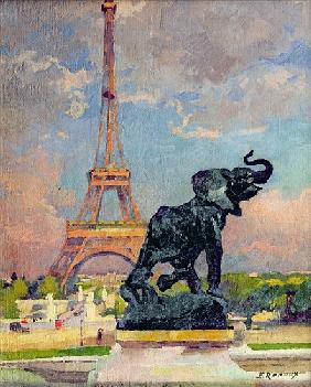 The Eiffel Tower and the Elephant by Fremiet