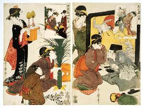 Two Scenes From The Series  ''Loyal League'' Depicting Everyday Life Of An Edo Period Household