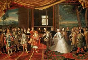Meeting between Louis XIV (1638-1715) and Philippe IV (1605-65) at Isle des Faisans