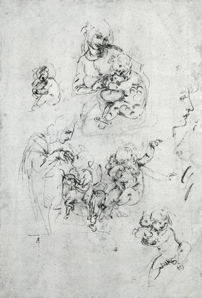 Studies for a Madonna with a cat, c.1478-80 (pen and ink over black chalk on paper)