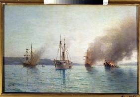 Russian torpedo boat tender Grand Duke Konstantin destroying the Turkish ships at Bosphorus on 1877