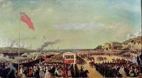 Napoleon III (1808-73) Welcoming Queen Victoria (1819-1901) at the Port of Boulogne, 18th August 185