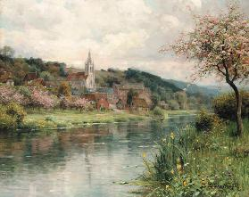 View of a village at a river