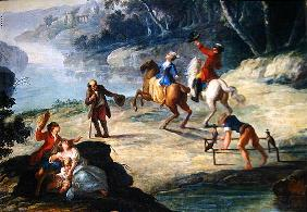 A Hunt with Falcons, Detail of a Rider and a Falconer (oil on canvas)