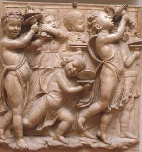 Putti playing cymbals, detail from the Cantoria