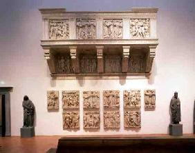 Reconstructed Cantoria, with the original panels below