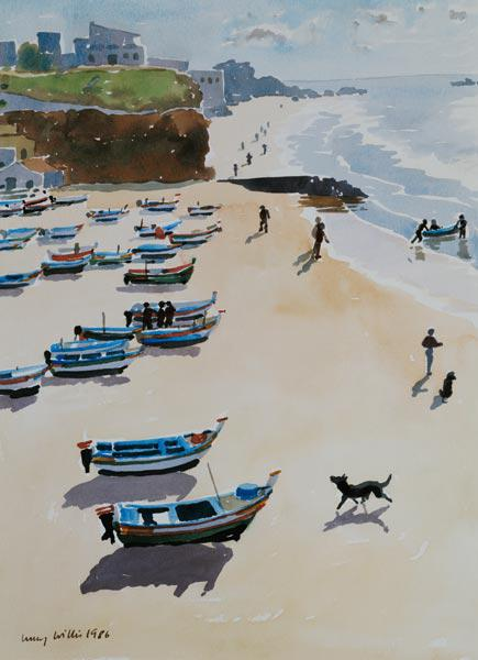 Boats on the Beach, 1986 (watercolour on paper)