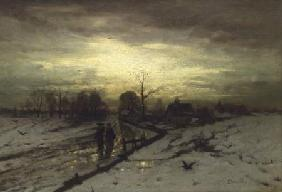 Snow Scene: Sunset