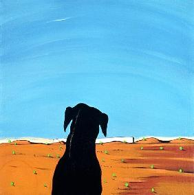 Black Dog in Chestertown, 1998 (acrylic on canvas)
