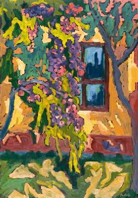 Sunlit Wall with Fruit Tree, 2005 (oil on board)