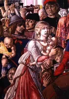 The Massacre of the Innocents, detail of a soldier piercing a baby with his sword