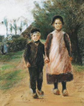 Boy and Girl on a Village Street