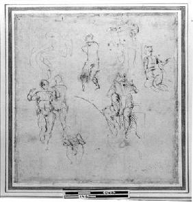 Figure studies for the Lunettes of the Sistene Chapel Ceiling, c.1511 (pen & black chalk on paper)