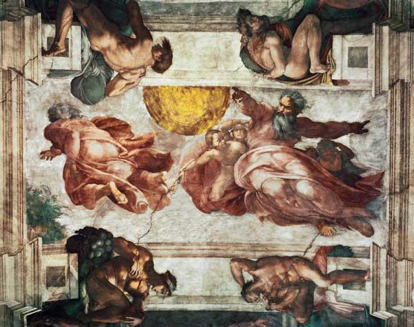 Sistine Chapel Ceiling: Creation of the Sun and Moon, 1508-12