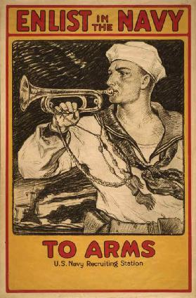 Sailor Playing Bugle, Enlist in the Navy, World War I Recruitment Poster, USA