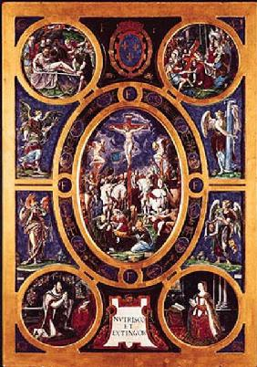 Altarpiece of Sainte-Chapelle, depicting the Crucifixion enamelled by Leonard Limosin (1505-76) 1553