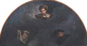 Lunette with portrait heads
