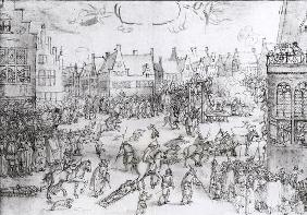 The Death of the Gunpowder Conspirators, 31st January 1606 (engraving) (b/w photo)