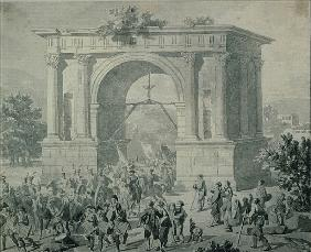 The entrance of French troops to A''Osta in May 1800 (pen, ink & wash on paper)