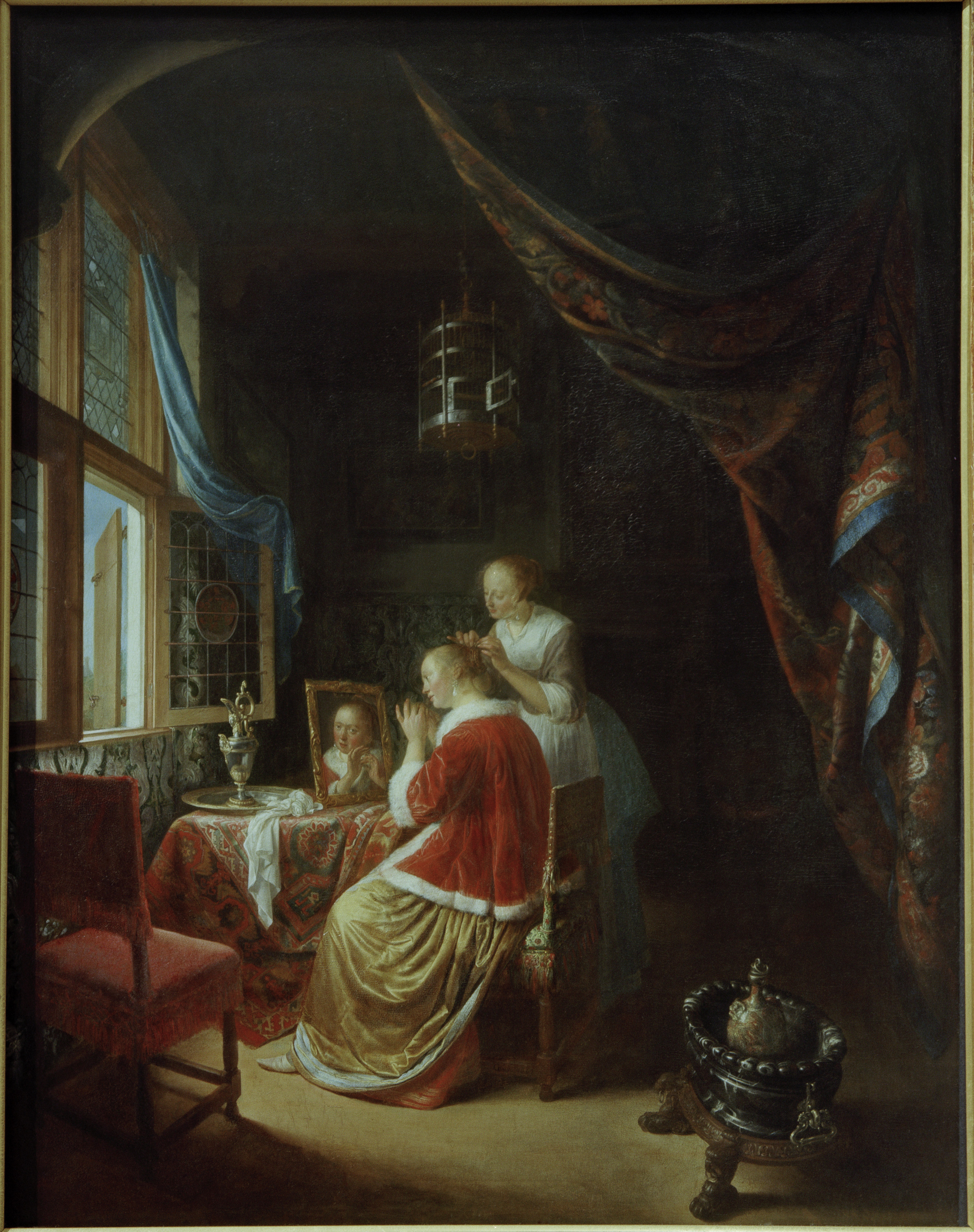 Gerrit dou lady at dressing table ptg gerard dou als for Interieur eycken