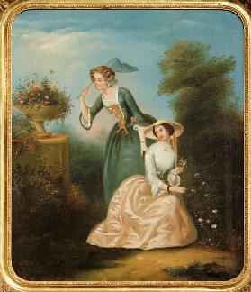 Two Young Ladies in the Park