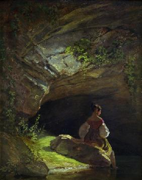 Spitzweg / Girl at the Grotto / Painting