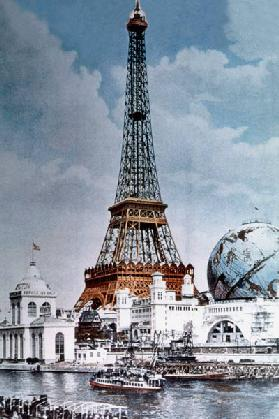 The Eiffel Tower and 'Globe Celeste' at the 1900 World Exposition, viewed from the Right Bank of the