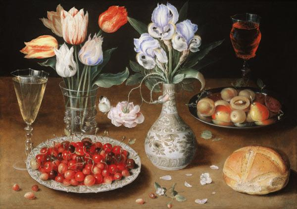 Still life with Lilies, Roses, Tulips, Cherries and Wild Strawberries