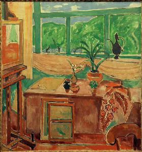 Studio still-life with iris and many– paned window