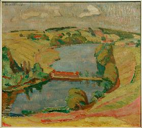 Landscape at Ebersberg with lake