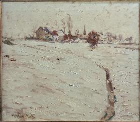 Snow-Covered Landscape near Grafrath