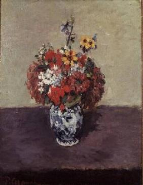 Flowers in a Delft vase