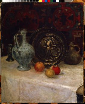 Still life with a brass plate