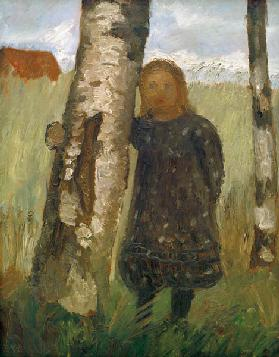 Girl at Birch Tree