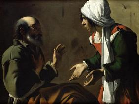 The Denial of St. Peter (oil on canvas)