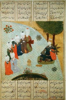 Alexander and the Seven Wise Men, from the manuscript 'Iskandar-nama' by Nizami
