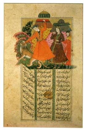 Khusrau Attacks a Lion in Front of Shirin's Tent, illustration from the 'Shahnama' (Book of Kings) b