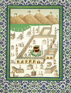 Schematic View of Mecca, showing the Qua'bah, from a book on Persian ceramics (print)