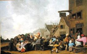 A Village Scene with a Dentist Pulling Teeth and Peasants Fighting Outside a Tavern
