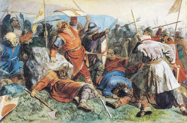 Saint Olav at the Battle of Stiklestad