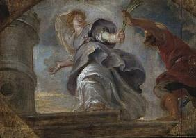 St. Barbara fleeing from her father