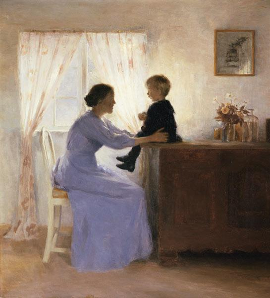 A Mother and Child in an Interior