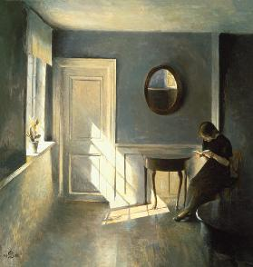 Girl Reading a Letter in an Interior