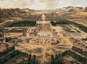 Perspective view of the Chateau, Gardens and Park of Versailles seen from the Avenue de Paris, 1668