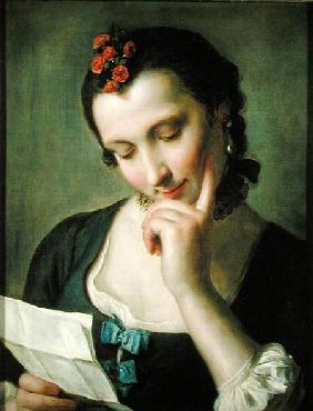 A Young Woman reading a Love Letter