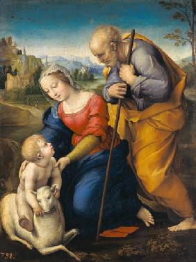 The Holy Family with a Lamb