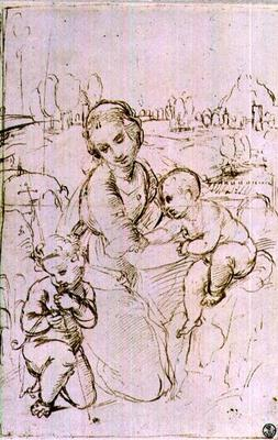 Study of a Madonna and Child with the infant St. John the Baptist (pen & ink)