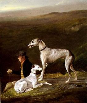 Old Sandy, Trainer to Alexander Graham, with Two Greyhounds in a Highland Landscape